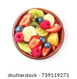 bowl with delicious fruit salad ... | Shutterstock . vector #739119271