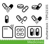 set of medicines icons.... | Shutterstock .eps vector #739121101