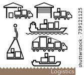 set of transport logistics line ... | Shutterstock .eps vector #739121125