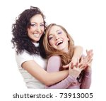 two young female friends having ... | Shutterstock . vector #73913005