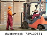 warehousing and storage.... | Shutterstock . vector #739130551