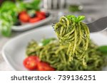 delicious pasta with basil... | Shutterstock . vector #739136251