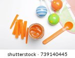 composition with tasty baby... | Shutterstock . vector #739140445