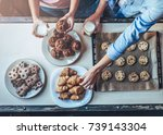 cropped image of attractive... | Shutterstock . vector #739143304