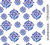 snowflake watercolor pattern... | Shutterstock . vector #739146559