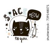 Stock vector cute cat in space print childish vector illustration in scandinavian style perfect for kids and 739148071