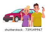 driving school. students with a ... | Shutterstock .eps vector #739149967
