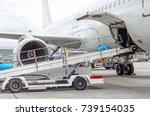 passenger aircraft loading of... | Shutterstock . vector #739154035