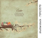 Vintage easter card with nest of easter eggs - stock vector