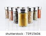 spices in glass bottles ...   Shutterstock . vector #73915606