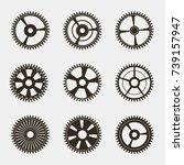 set of gears on   white... | Shutterstock .eps vector #739157947