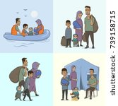 the refugee family with... | Shutterstock .eps vector #739158715