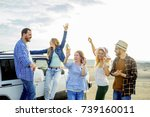 friends travelling together | Shutterstock . vector #739160011