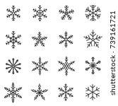 snowflakes icon set  thin line...