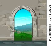 view through the arch of stone... | Shutterstock .eps vector #739163101