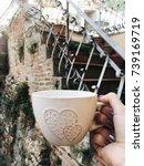 a big cup of tea   Shutterstock . vector #739169719