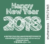 vector happy new year greeting... | Shutterstock .eps vector #739171465