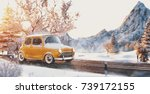 cute little retro car  goes by... | Shutterstock . vector #739172155