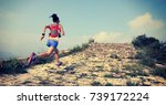fitness woman trail runner... | Shutterstock . vector #739172224