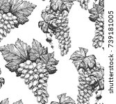 grapes seamless pattern. hand... | Shutterstock .eps vector #739181005