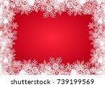 red frame snowflake   stock... | Shutterstock .eps vector #739199569