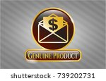 shiny badge with envelope with ... | Shutterstock .eps vector #739202731