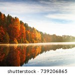 red and colorful autumn colors... | Shutterstock . vector #739206865