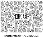set of doodle cupcakes | Shutterstock .eps vector #739209061
