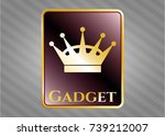 gold shiny emblem with queen... | Shutterstock .eps vector #739212007