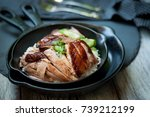 rice with roast duck | Shutterstock . vector #739212199