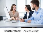 businessman with colleagues at... | Shutterstock . vector #739212859