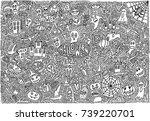 set of halloween doodle | Shutterstock .eps vector #739220701