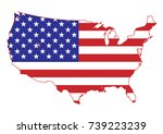 usa map with flag  isolated on... | Shutterstock .eps vector #739223239