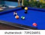 blue pool table with balls. ... | Shutterstock . vector #739226851