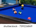 blue pool table with balls. ... | Shutterstock . vector #739226869