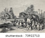 Antique Illustration Of Huntin...