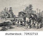 Antique Illustration Of Huntin...