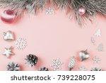 christmas frame with fir... | Shutterstock . vector #739228075