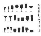 vector image of set of glass. | Shutterstock .eps vector #739237315