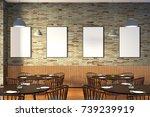 modern restaurant interior with ... | Shutterstock . vector #739239919
