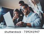teamwork brainstorming process... | Shutterstock . vector #739241947