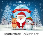 cartoon smiling santa clause... | Shutterstock .eps vector #739244479