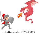 knight with angry dragon... | Shutterstock .eps vector #739245859