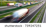 trucks on four lane controlled...   Shutterstock . vector #739247251