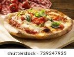 fresh homemade italian pizza... | Shutterstock . vector #739247935
