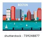 boston city in sunny day ... | Shutterstock . vector #739248877