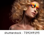 young woman with fantasy bright ... | Shutterstock . vector #739249195