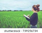 asian women relax in the...   Shutterstock . vector #739256734