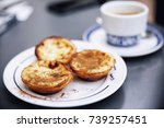 pastel de nata and coffee at... | Shutterstock . vector #739257451