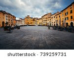 piazza dell anfiteatro in lucca ... | Shutterstock . vector #739259731